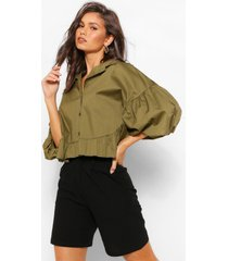 peplum blouse met grote mouwen, kaki