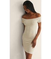 na-kd basic recycled off shoulder ribbed dress - beige
