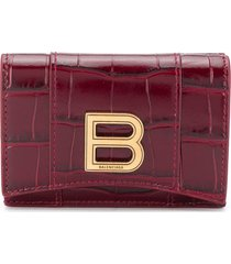 balenciaga crocodile effect leather wallet - red