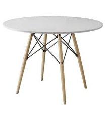 mesa de jantar redonda eiffel wood branco 110 cm