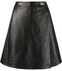givenchy leather buckle-embellished skorts - black