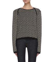 monogram jacquard overlap shoulder sweater