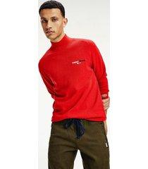 tommy hilfiger men's organic cotton turtleneck logo sweater deep crimson heather - s
