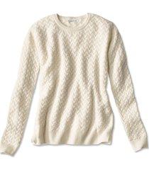 cashmere cable crewneck sweater, snow, x large