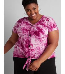 lane bryant women's tie-dye button-front tee 18/20 cassis
