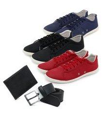 conjunto 3 sapatênis confortáveis + carteira + cinto - azul/preto/vermelho ro02