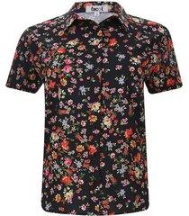 camisa flores de colores color negro, talla 10