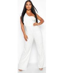 one shoulder drape jumpsuit, white