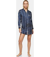 navy stripe pajama shirt - navy blue