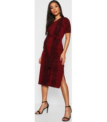 maternity snake tie front midi dress, red