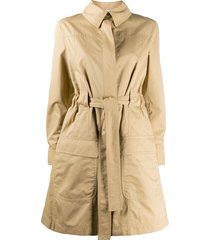 moschino crystal-embellished logo trench coat - neutrals