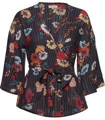 vintage drape kimono top blouse lange mouwen zwart by ti mo
