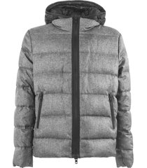 fay grey hooded down jacket