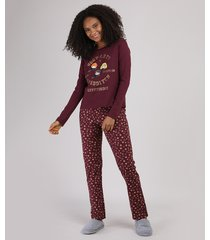 pijama feminino harry potter grifinória manga longa vinho