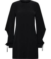 drawstring sleeve satin crepe shift dress kort klänning svart victoria victoria beckham