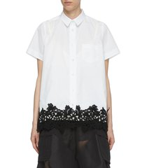 contrast lace short sleeve cotton poplin shirt