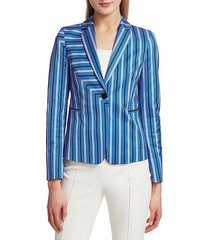 akris punto women's square stripe stretch-cotton blazer - lake desert - size 4