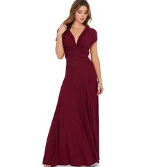 wine red sexy women convertible wrap maxi dress