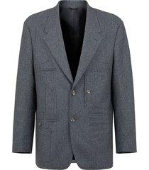 fendi wallet detail straight jacket - grey