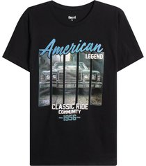 camiseta m/c con screen american legend color negro, talla s