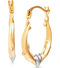 kissing dolphin small hoop earrings in 14k gold & white rhodium-plate