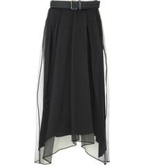 brunello cucinelli crispy silk full long skirt with belt black