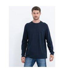 camiseta manga longa fit comfort em algodão peruano | marfinno | azul | gg