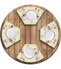 jogo americano   para mesa redonda wevans cute noel  love decor