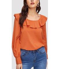 blusa con mangas de linterna plisada con ribete naranja