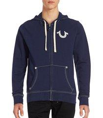 true religion men's classic logo zip-up hoodie - oatmeal - size m