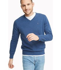 tommy hilfiger men's essential v-neck sweater denim blue heather - xxl