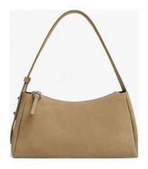 mango women's leather baguette crossbody bag