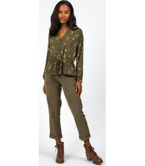 rayna embroidered front tie blouse - olive