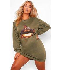 plus oversized sweatshirt jurk met gouden lippen, khaki