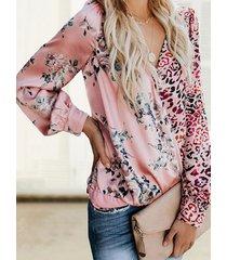 rosa blusa de manga larga con cuello en v y estampado floral de leopardo al azar