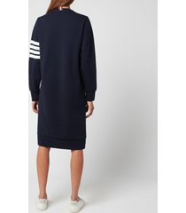 thom browne women's below knee sweater dress in classic loop back with engineered 4 bar - navy - it 44/uk 12