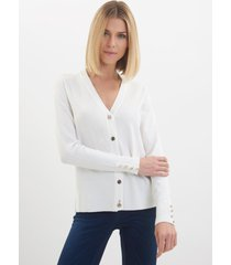 cardigan le lis blanc jasmin ii tricot off white feminino (off white, gg)