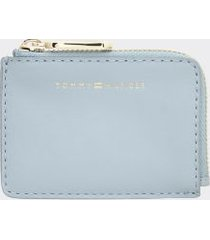 tommy hilfiger women's leather zip card holder arctic -
