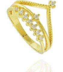anel coroa zircônias semi joia