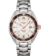 roamer men's 3 hands date 44.5 mm dress watch in two tone steel case and bracelet