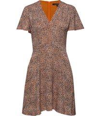 chinwe mix flippy dress korte jurk bruin french connection