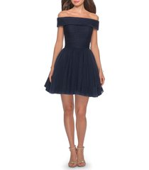 women's la femme off the shoulder sparkle tulle cocktail dress