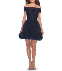 women's la femme off the shoulder sparkle tulle cocktail dress, size 00 - blue