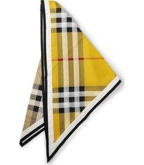 contrast vintage check print scarf