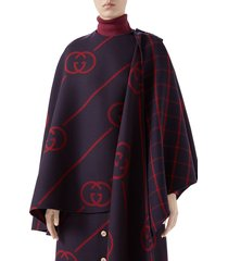 women's gucci interlocking-g diagonal stripe wool & silk cape, size 6 us / 42 it - blue