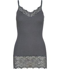 organic strap top medium w/ lace t-shirts & tops sleeveless grå rosemunde