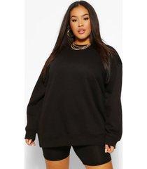 plus basic oversized boyfriend sweater, zwart