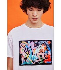 organic t-shirt with painting by miranda makaroff - white - xl