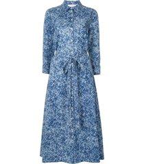 carolina herrera floral flared shirt dress - blue