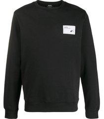 a.p.c. logo jersey sweatshirt - black